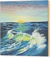 Wave By Early Light Wood Print