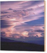Wave Couds Over The Owens Valley Wood Print