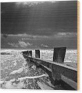 Wave Defenses Wood Print by Meirion Matthias
