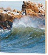 Wave Mirrors Rock Wood Print