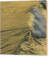 Wave Rolling Gold Wood Print