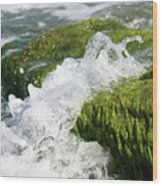 Wave Splash On The Green Rock Wood Print