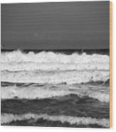 Waves 1 In Bw Wood Print