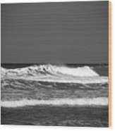 Waves 2 In Bw Wood Print
