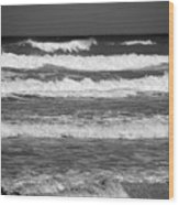 Waves 3 In Bw Wood Print