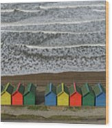 Waves And Beach Huts - Whitby Wood Print