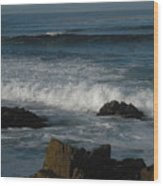 Waves And Rocks Wood Print by Sharon McKeegan