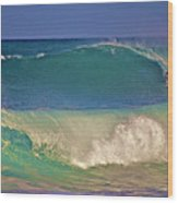 Waves And Surfer In Morning Light 2 Wood Print