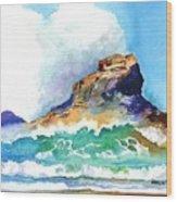 Waves Bursting On Rocks Wood Print