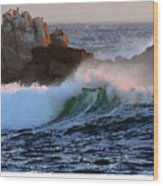 Waves Crash Against The Rocks Wood Print