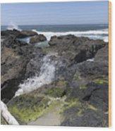 Waves Crash Ashore On A Lava Bed Wood Print