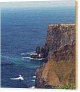 Waves Crashing At Cliffs Of Moher Ireland Wood Print