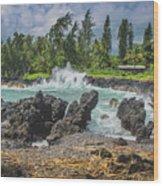 Waves Crashing Kawee Point Wood Print