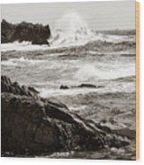 Waves Crashing Wood Print