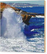 Waves Crashing On The Rocks Wood Print