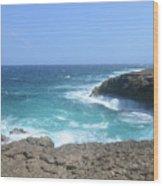 Waves Crashing On To The Lava Rock At Daimari Beach Wood Print
