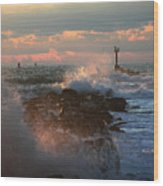 Waves Crashing Over The Jetty Wood Print