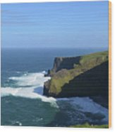Waves From Galway Bay Crashing Against The Cliff's Of Moher Wood Print