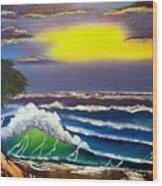 Waves in a Tropical Sunburst Wood Print