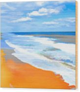 Waves Lapping On Beach 8 Wood Print
