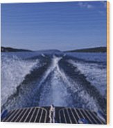 Waves Left In The Wake Of A Boat Wood Print