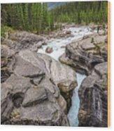 Waves Of ... Granite At Mistaya Canyon, Canada Wood Print