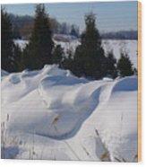 Waves Of Snow Wood Print
