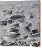 Waves On Cobble-panoramic Wood Print