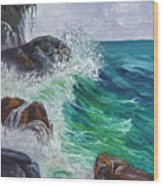 Waves On Maui Wood Print