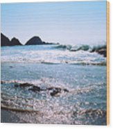 Waves On The Mid Beach Rocks At Zipolite  Wood Print
