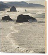 Waves Roll Ashore On The Oregon Coast Wood Print