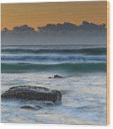 Waves Rolling In At Sunrise Wood Print