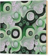 Waves Seashells Foam And Stones In Green Wood Print by Jacqueline Migell