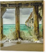 Waves Smash Into The Pier Wood Print