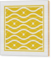 Waves With Border In Mustard Wood Print