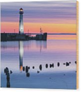 Wawatam Lighthouse In Colorful Predawn Light Wood Print