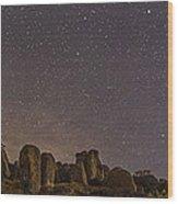 Waxing Moon Above The City Of Rocks Wood Print
