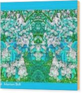 Waxleaf Privet Blooms In Aqua Hue Abstract With Aqua Frame Wood Print
