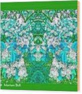 Waxleaf Privet Blooms In Aqua Hue Abstract With Green Frame Wood Print