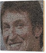 Wayne Gretzky Hockey Puck Mosaic Wood Print