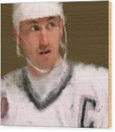 Wayne Gretzky Kings Portrait Wood Print