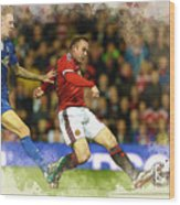 Wayne Rooney Of Manchester United Scores Wood Print