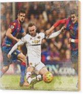 Wayne Rooney Shoots At Goal Wood Print
