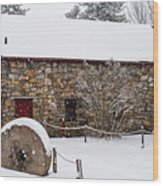 Wayside Inn Grist Mill Covered In Snow Millstone Wood Print