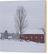 Wayside Inn Grist Mill Covered In Snow Storm 2 Wood Print