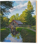 Wayside Inn Grist Mill Reflection Wood Print