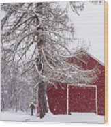 Wayside Inn Red Barn Covered In Snow Storm Reflection Wood Print