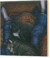 We 3 Nap With My Cats Wood Print