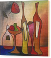 We Can Share - Abstract Wine Art By Fidostudio Wood Print by Tom Fedro - Fidostudio