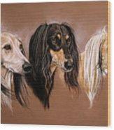 'we Three Salukis' Wood Print